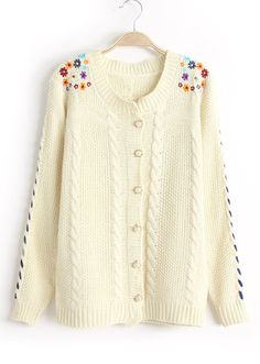 White Long Sleeve Embroidered Cable Knit Sweater - Sheinside.com