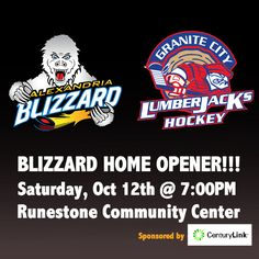 Alexandria Blizzard vs Granite City Lumberjack Oct 12th, 2013. BLIZZARD HOME OPENER #NA3HL #hockey #feartheclaw