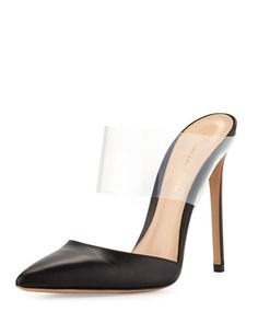 Zoom +  Video +                                    Gianvito RossiPVC/Leather High-Heel Point-Toe Slide