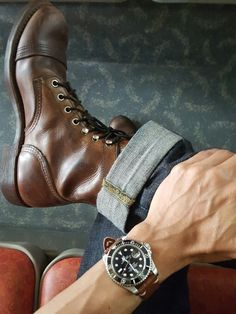 Watch: Rolexsubmeriner Denim: JapanBlue 0306 Boots: Redwing #8111 Handmade Leather Shoes, Leather Men, Leather Boots, Viberg Boots, Mens Wardrobe Essentials, Red Wing Boots, Mens Boots Fashion, Moda Casual, Vintage Boots