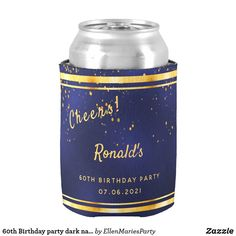 Birthday party dark navy blue gold cheers Can Cooler Guys 21st Birthday, 90th Birthday Parties, Birthday Party Celebration, Birthday Beer, Birthday Cakes, Dark Navy Blue, Blue Gold, Navy Blue Background, 3 D
