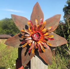Rustic Barn Wood Autumn Wreath with Metal Flower Center - rustic Fall decor - primitive outdoor Fall wreath,  Autumn rustic decor on Etsy, $75.00