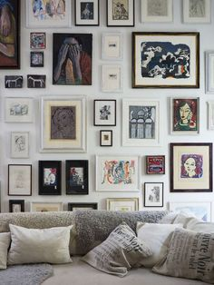Gallery wall - I like the use of doubles