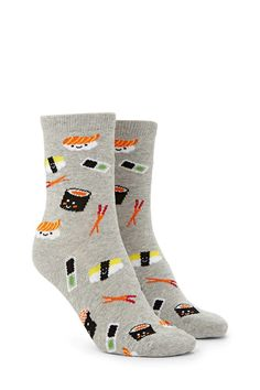 A pair of knit crew socks featuring ribbed trim and various allover sushi and chopsticks pattern.