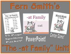 Fern Smith's The -at Family Packet ~ PowerPoint, Center Game & Spelling Bundle!  Adorable Cat Theme! This packet contains a PowerPoint, Center Game & Spelling Unit! $5