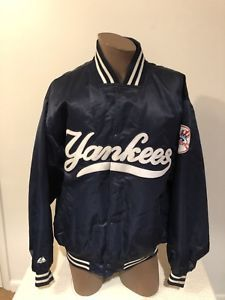 New York Yankees 2XL Satin Dugout Bomber Jacket Majestic Authentic Collection  | eBay