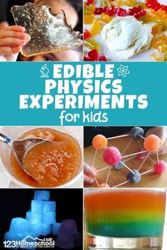 These edible physics experiments are sure to get kids from preschool to kindergarten and elementary age interested in science Make science FUN for kids of all ages with these Food Experiments that explore chemistry, biology, physics, and earth science! Elementary Science Experiments, Easy Science Experiments, Science Activities For Kids, Teaching Science, Science Education, Science Fun, Physical Science, Science For Preschoolers, Science Projects For Kids