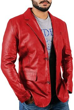 SELX Men Two-Buttons Stylish Notched Collar Faux Pu Leather Blazer Jackets
