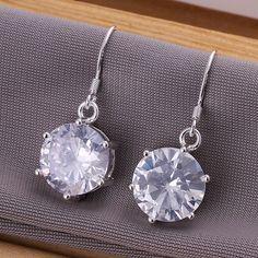 925 jewelry silver plated earring ,fashion jewelry For Women, Zircon Earrings E172 /DTCUOWOO ILZEMCYN