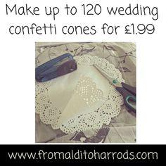 Wedding confetti cones for £1.99