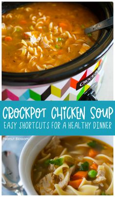Crockpot chicken soup Easy crockpot chicken soup has plenty of kitchen shortcuts for lazy chefs. Prep it and forget it, then go enjoy your weekend! Perfect for meal prepping for a busy week ahead. Easy Crockpot Chicken, Chicken Soup Recipes, Easy Healthy Dinners, Easy Dinner Recipes, Yummy Recipes, Slow Cooker Recipes, Crockpot Recipes, Chili Recipes, Homemade Applesauce