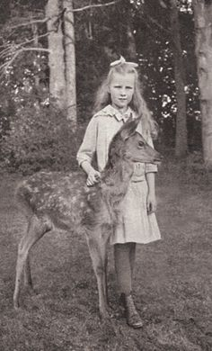 +~+~Vintage Photograph~+~+  Young girl and her fawn
