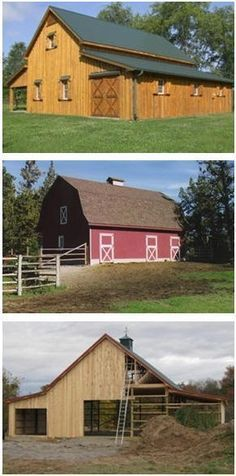 BarnsBarnsBarns.com - Find plans for traditional wooden barns, pole-barns, country garages, sheds, backyard barns, horse barns, outbuildings and and equipment shelters by some of America's best known country designers. #PoleShedPlan