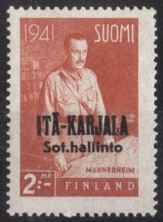 "East Karelia 1942 2mk  orange ""Field Marshall Carl Gustav Mannerheim"" black overprint  p:14 [Facit 24, Mi:FI-EK 24, Yt:FI-EK 18]"