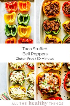 Healthy and easy taco stuffed bell peppers that the whole family will love! These bell peppers are stuffed with a seasoned taco filling of black beans, ground turkey, rice, and tomatoes and then topped with a delicious layer of Cabot extra sharp cheddar cheese. This simple 30 minute meal is perfect for any night of the week!  #taco #peppers #stuffed #healthy Ground Turkey Tacos, Healthy Ground Turkey, Ground Turkey Recipes, Ground Beef, Healthy Tacos, Good Healthy Recipes, Lunch Recipes, Soup Recipes, Free Recipes