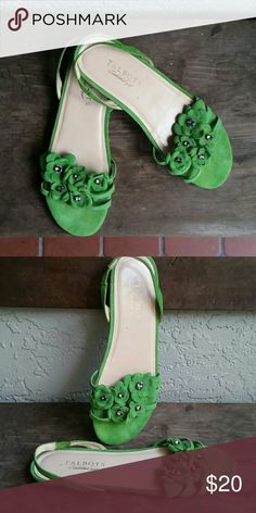 NWOT Green Suede Flower Rhinestone Sandals Brand Talbots NWOT  Size 7 1/2AA Genuine Leather upper Made in Brazil Elastic Sling Back Flat Sandals Green Suede Flower across Front with Smoky Rhinestone  Dress them up or down Originally $ 89.50 verify price thru Talbots Wed site Goes nice with Talbots skirt in my closet Bundles available with discounts Talbots Shoes Sandals