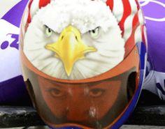 Katie Uhlaender Wears Bold Eagle Helmet