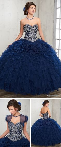 Mary's Quinceanera Style 4Q504 • Strapless tulle quinceanera ball gown with sweetheart neck line, beaded bodice, basque waist line, lace-up back, ruffle skirt, and matching bolero.