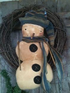 Primitive Snowman door doll stacked blue scarf hat ADORABLE PRIM FOLK ART #NaivePrimitive