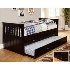 Bed with storage drawers and trundle