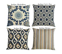 Indigo Ikat Blue and Gray on Linen Euro Sham Pillow by Pillomatic for living room