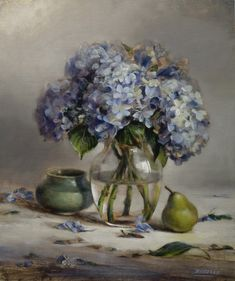 Blue Hydrangea by Ellen Buselli oil on linen The Artist Magazine, Blue Hydrangea, Hydrangeas, Italian Painters, Oil Painters, Art Studies, American Artists, Painting Inspiration, Art Pictures