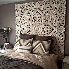 Balinese Carved Wood Bed Headboard