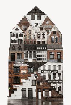 The Spirit of Cities Captured in Collage,Belgium. Image Courtesy of Anastasia Savinova
