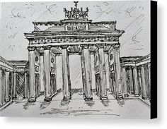 """Brandenburg Gate, Berlin (Germany): An ink sketch of the Brandenburg Gate printed on to premium stretched canvas over a wooden frame by Kelly Goss Art. Delivered """"ready to hang"""". Perfect to brighten up and decorate your home. Fit for any wall in any room. The special gift to spice up a friend's home decor. For a lover of famous landmarks and Berlin."""