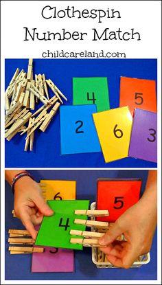childcareland blog: Clothespin Number Match