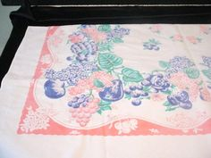 Vintage Pink Dark Blue Green Fruit Cherries Pineapple Peaches Lilacs Table Cloth
