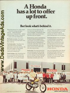 1972 vintage motorcycle ad - Honda has a lot to offer up front. But look what's behind it.
