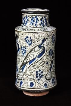 Albarello, fritware painted in blue and black under the glaze  Syria, Damascus?; 14th century  H: 34.1 cm