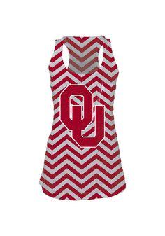 Oklahoma Sooners Womens Tank Top - Cardinal/White Oklahoma Chevron Burn Sleeveless Shirt http://www.rallyhouse.com/shop/oklahoma-sooners-574324 $32.99