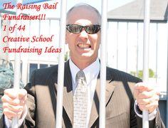 "The Raising Bail or Jail Fundraiser is one of the brilliant Creative School Fundraising Ideas"". Fort Rucker, Fundraising Games, Bail Money, Volunteer Gifts, Volunteer Appreciation, Church Fundraisers, School Auction, School Staff, School Carnival"