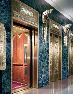 (Chicago) A spectacular expression of Art Deco design is the bank of elevators at One North LaSalle, designed in 1930 by Vitzthum & Burns. Architecture Design, Architecture Art Nouveau, Art Deco Decor, Art Deco Design, Decor Room, Room Art, Home Decor, Art Deco Period, Art Deco Era