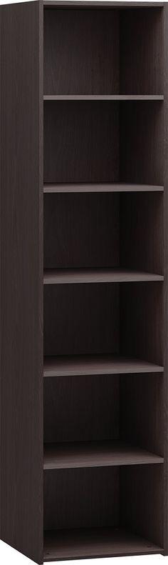 Cechy i korzyści: Regał wąski otwarty z pięcioma półkami. Półki bez możliwości regulowania ich wysokości. Polecamy również regał wąski w wersji z drzwiami z płyty lub szklanymi.Kolor: dąb ciemny ...