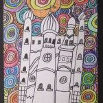 Neat b/w castle with Hundertwasser-esque background  i think b/w background w/colorful castle