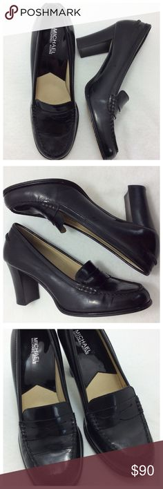 """MK Bayville Beautiful black penny loafer pumps by MICHAEL Michael Kors.  Leather upper with approximately 2 3/4"""" Chunky heel. Great condition - like new. MICHAEL Michael Kors Shoes"""