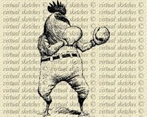 Rooster with Boxing Gloves Vintage Sketches AI PNG Transparent Photoshop Illustrator Instant Download Screen Printing VS130