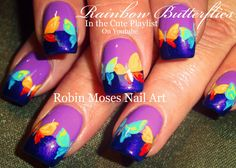 Rainbow Butterfly Nails | Easy Lavender & Purple Nail Art Design Tutorial