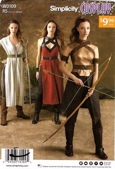 Simplicity Sewing Pattern W0109 0109 8074 Misses Size 14-22 Cosplay Warrior Costumes   Simplicity+Sewing+Pattern+W0109+0109+8074+Misses+Size+14-22+Cosplay+Warrior+Costumes