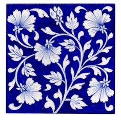 Blue Floral Design Kitchen Backsplash Tile 6x6'' |Knobco