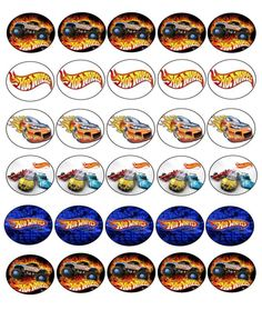 30 X Hot Wheels imágenes Comestibles Cupcake Toppers Premium Papel De Arroz 245