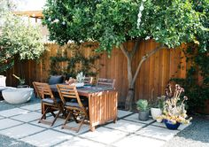 While growing grass in your backyard is great, we love how this home embraces the natural environment for an eco-friendly patio. Outdoor Seating, Outdoor Dining, Outdoor Spaces, Outdoor Decor, Outdoor Tiles, Outdoor Stuff, Outdoor Landscaping, Outdoor Rugs, Landscaping Ideas
