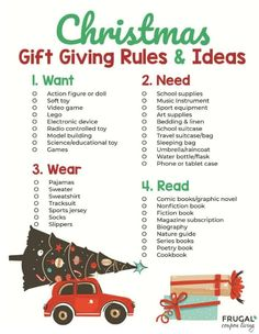 Download our Need Want, Wear, Read Christmas Gift Tags and Christmas Gift Guide. These gift giving rules keep Christmas simple and return to the reason for the season. It's also great when doing a family experience as a gift over the quantity of gifts. Make a great family Christmas Tradition to start now! #FrugalCouponLiving #familytraditions #christmastraditions #christmas #christmasgifttags #gifttags #printables #freeprintables #giftguide #christmasgiftguide