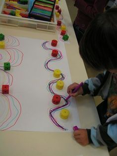 So simple. Great for fine motor! Draw around the obstacles