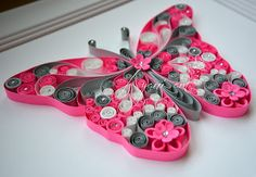 Quilling pink and grey butterfly