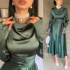 Hijab Evening Dress, Hijab Dress Party, Evening Dresses With Sleeves, Ball Dresses, Girls Fall Outfits, Pretty Outfits, Indian Fashion Dresses, Fashion Outfits, Simple Dresses