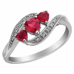 Created Ruby Heart Ring with Diamonds Carat (ctw) in White Gold 199 Heart Jewelry, Cute Jewelry, Jewelry Accessories, Jewelry Design, Heart Rings, Royal Jewelry, Anniversary Rings, Promise Rings, Beautiful Rings